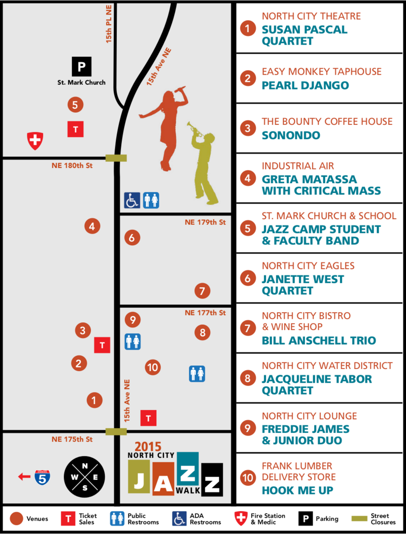 North City Jazz Walk Map and List of Performers